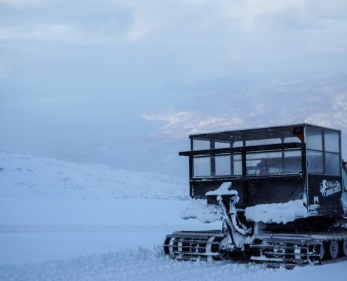Shimamaki Snowcats and the Sea of Japan